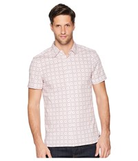 Perry Ellis Slim Fit Stretch Geo Print Shirt Powder Pink Clothing White