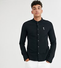 Religion Tall Slim Fit Jersey Shirt With Grandad Collar In Black