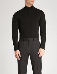 Emporio Armani Zipped Knitted Jumper Black