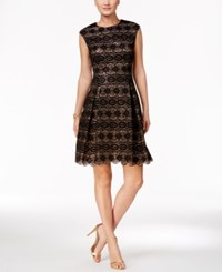 Vince Camuto Sequined Lace Fit And Flare Dress Black Taupe