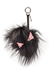 Fendi Bag Bug Eye Tria Key Chain With Silver Fox Fur Black