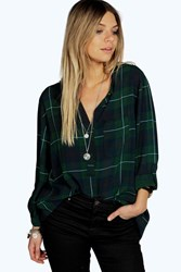 Boohoo Collarless Checked Roll Back Sleeve Shirt Bottle Green