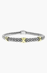 Lagos 'X' Two Tone Mini Oval Rope Bracelet Silver Gold