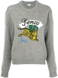 Kenzo Embroidered Tiger Sweater Grey