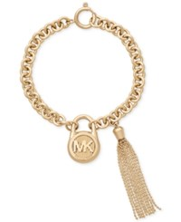 Michael Kors Gold Tone Stainless Steel Padlock Charm And Chain Tassel Bracelet