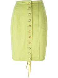 Jean Paul Gaultier Vintage Buttoned Denim Skirt Green