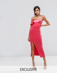 Silver Bloom Bandeu Maxi Dress With Overlay In Satin Dark Coral Orange