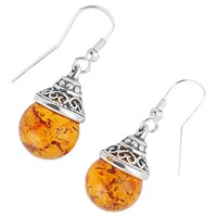 Be Jewelled Sterling Silver Amber Ball Drop Earrings Orange