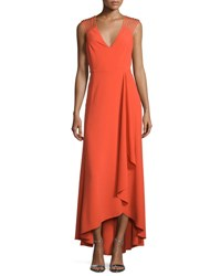 Halston Sleeveless Strappy High Low Ruffle Dress Grenadine
