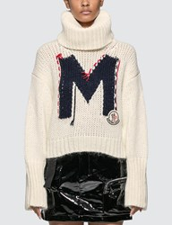 Moncler Roll Neck Knitted Sweater White
