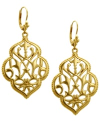 T Tahari Earrings Gold Tone Filigree Drop Earrings