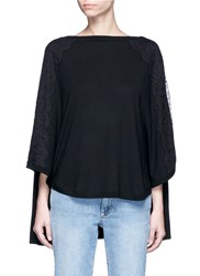 Valentino Floral Lace Trim Cape Back Top Black