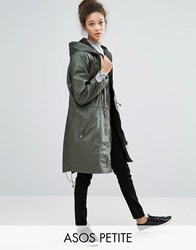 Asos Petite Waxed Parka Raincoat With Zip Detail Khaki Green