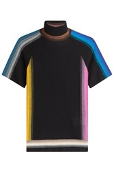 Missoni Wool Mixed Striped Short Sleeve Mock Neck Multicolor