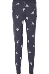 Zoe Karssen Printed Wool And Cashmere Blend Track Pants Blue
