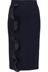 Opening Ceremony Ruffle Trimmed Stretch Ponte Skirt Midnight Blue