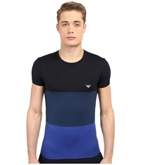 Emporio Armani Color Block Microfiber Tee Marine Aviator Elk Blue Men's T Shirt Multi