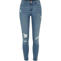 River Island Womens Mid Blue Wash Molly Distressed Jeggings