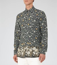 Reiss Marcie Mens Floral Printed Shirt In Green
