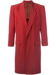 Jean Paul Gaultier Vintage Lightweight Pinstriped Coat Red