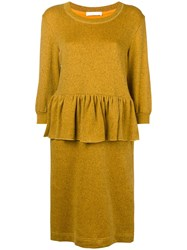Peter Jensen Peplum Style Dress Yellow And Orange