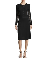 Oscar De La Renta Button Front Lace Inset Dress Black Women's