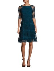 Kay Unger Geometric Lace Dress Peacock