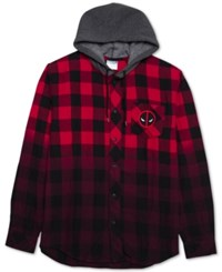 Jem Men's Deadpool Ombre Plaid Flannel Hoodie Red Grey