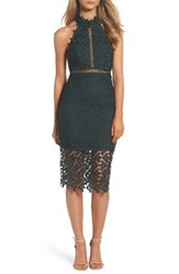 Bardot Women's 'Gemma' Halter Lace Sheath Dress Forest
