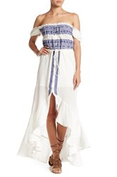 Gypsy 05 Off The Shoulder Flirty Embroidered Dress Blue