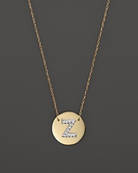 Jane Basch 14K Yellow Gold Circle Disc Pendant Necklace With Diamond Initial 16 Z