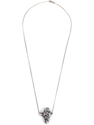Maxime Llorens Cross Crystal Pendant Necklace Metallic