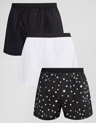 Asos Woven Boxers With Monochrome Star Print 3 Pack Save Multi