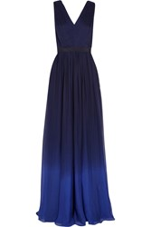 Matthew Williamson Pleated Ombre Silk Chiffon Gown