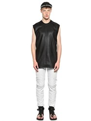 Skingraft Nappa Leather And Cotton Mesh T Shirt
