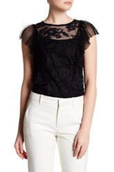 Abs By Allen Schwartz Pleated Sleeve Lace Blouse Black