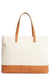 Sole Society Aurelai Colorblock Faux Leather Tote Beige Cream Camel