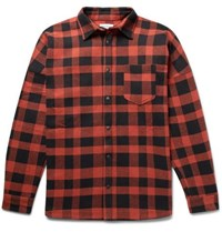 Palm Angels Printed Buffalo Checked Cotton Blend Overshirt Red