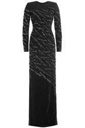 Jenny Packham Crystal Embellished Evening Gown Black