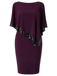Adrianna Papell Sleeveless Popover Sequin Cocktail Dress Purple
