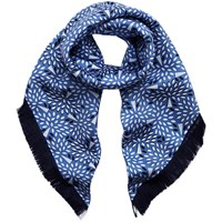 Mulberry Fringed Silk Twill Square Scarf Blue