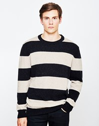 Ymc Beat Generation Aplaca Stripe Jumper Black