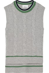 3.1 Phillip Lim Cable Knit Wool Blend Sweater Gray