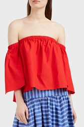 Mds Stripes Women S Off Shoulder Peasant Top Boutique1 Red