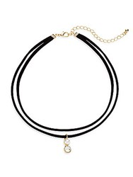 Cara Faux Pearl And Crystal Pendant Layered Choker Necklace Black