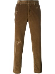 Msgm Distressed Corduroy Trousers Brown