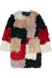 Marni Color Block Shearling Coat Black