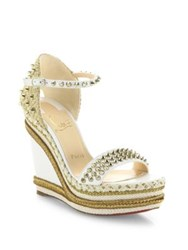 Christian Louboutin Madmonica 120 Spiked Leather Espadrille Wedge Platform Sandals White