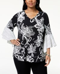 Alfani Plus Size Printed Flared Sleeve Top Created For Macy's Black Line Art Floral