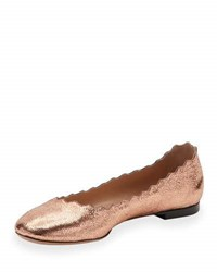 Chloe Lauren Scalloped Metallic Leather Ballerina Flat Rose Gold Silver